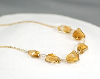 AAA golden Citrine necklace in gold filled Layering Necklace, November Birthday Gift beaded jewelry for Her, Handmade Jewelry Christmas