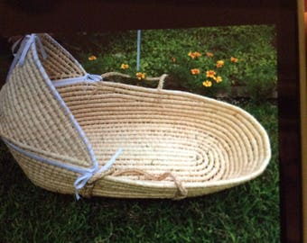 Life Size Baby Moses Basket with Removable Shade Awning Attaches with Velcro