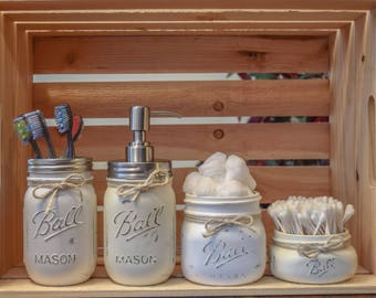 Rustic Farmhouse Distressed Mason Jar Bathroom Set, Home Decor, Farmhouse Decor, Cotton Ball Jar, Cotton Swab Jar, Rustic Bathroom