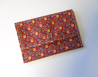 Fabric Business Card Wallet or Gift Card Holder in Deep Red Floral