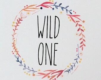 Wild One, Nursery Print, Nursery Decor, Folk Art, Floral Wreath Print