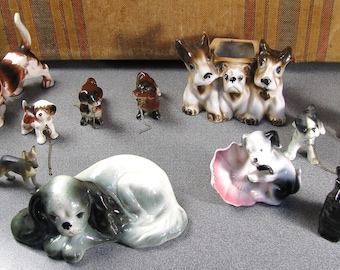 12 Vintage Made in Japan Ceramic Dog figurines and planter
