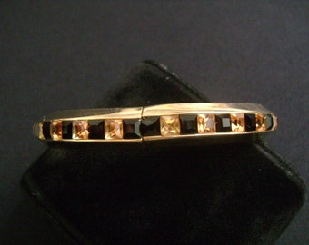 """Vintage WHITING and DAVIS Gold Tone With Princess Cut Bezel or Channel Set Black and Champagne Cognac Colored Rhinestones Bangle Bracelet 7"""""""
