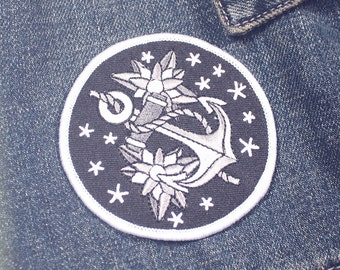 Anchor Patch - Anchor Iron On - Anchor Iron On Patch - Nautical Patch - Nautical Iron On Patch - Embroidered Anchor Patch - Anchor Swag