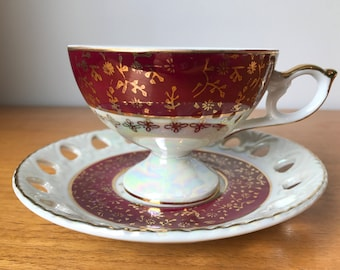 Japanese Footed Tea Cup and Saucer, Red and White Lustreware Teacup and Reticulated Saucer, Made In Japan