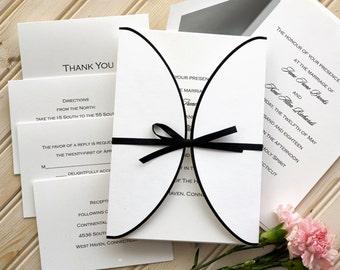 Wedding invitations etsy black border wrap with ribbon wedding invitation set classic elegant folded white stopboris Choice Image