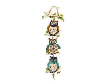 Three owl's Mobile On a branch -Nurit Teva