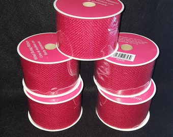 5 Spools of Red Wired Ribbon Burlap 2.5 Inch Ribbon