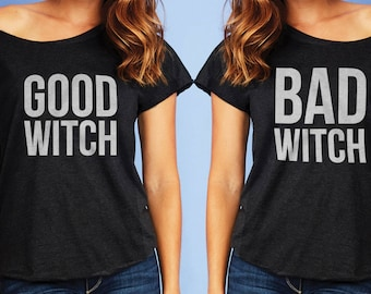 Good Witch Bad Witch BFF Dolman Best Friends Forever Off Shoulder BFF's Funny Cute Top Blouse Halloween Shirt