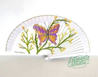 Fan white small wood with branches and a butterfly handpainted, hand painted Spanish fan