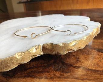 Gold fill & sterling silver C clasp bracelet