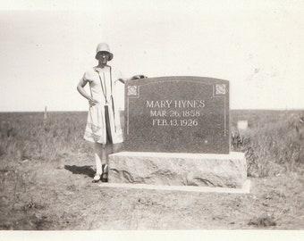 Original Vintage Photograph Snapshot Woman Posing by Grave Headstone Cemetery 1928