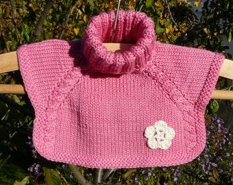 Pink scarf hand knitted kids neckwarmer kids scarf kids cowl merino scarf