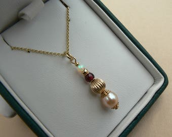 9ct Gold Victorian Retro style Opal, Garnet & pink Freshwater Pearl drop pendant
