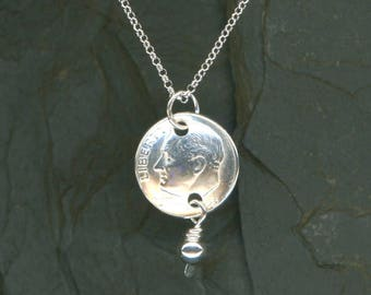 60th Birthday Gift 1958 Dime Pendant Sterling Chain Necklace 60th Anniversary Gift 1958