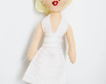 Handmade Felt Art Doll Marilyn Monroe Ispired
