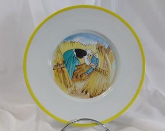 "Limoges porcelain plate, handpainted, ""wheat"" by Mathurin Méheut"