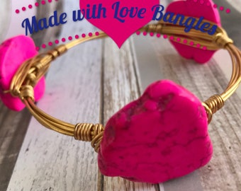 Pink Wire Wrapped Three Stone Bangle Bracelet Howlite Stone Bangle Bracelet *Bourbon and Boweties Inspired*