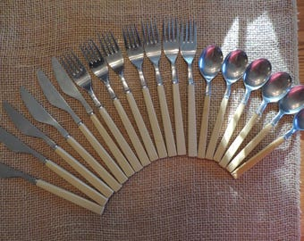 Vintage Flatware Set by Aracapa Stainless Silverware Fork Knife Spoon  Glamping CampeTravel Trailer Kitchen Serving Dining 6 pc flatware