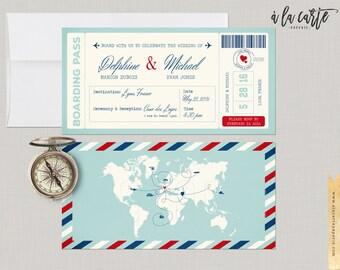Destination Wedding Boarding Pass Invitation World mapinternational wedding travel cruise blue vintage DEPOSIT Payment