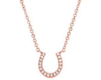 Rose Gold Pendant / Diamond Pendant / Ladies Pendant / Ladies Diamond Pendant / Horseshoe Pendant / 14k Rose Gold Ladies Diamond Pendant