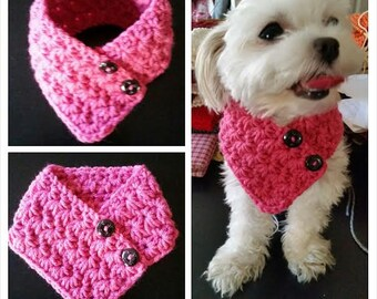 Small  Dog Crocheted scarf, Dog neck warmer PINK Colors fits most S or M dogs
