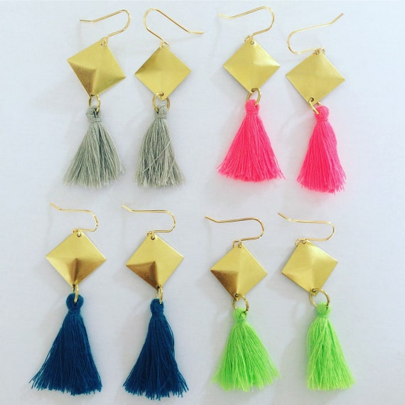 Long Tasseled Brass Diamond Earrings - Gold - Neon - Green - Pink - Grey - Turquoise - Festival