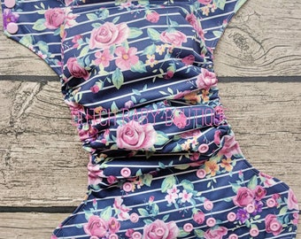 Floral Navy Stripe Cloth Diaper - Made To Order
