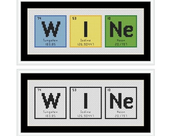 WINE Periodic Table Chemical Element Cross Stitch Chart