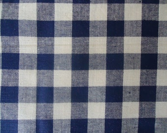 All Cotton New Off the Bolt 59 Inch Wide Navy and White Checked Fabric from Pinnacle Mills