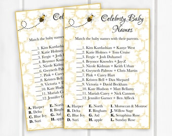 Celebrity Baby Names Shower Game, Baby Shower Game,5x7, Item 220