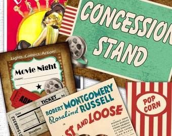 Backyard Vintage Movie Night Party Pack Kit Instant Download Files
