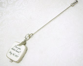 Wedding Boutonniere Pin with a Photo Memorial Charm - FBPP2RCa