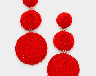 Thread Dome Double Thread Disc Link Earrings - Red