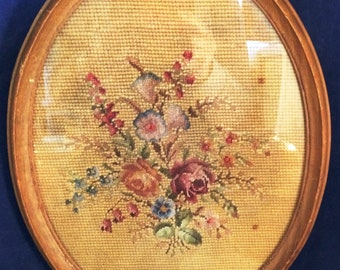 Vintage oval framed Needlepoint of Flowers