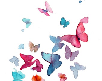 Butterflies, print from original watercolor illustration by Jessica Durrant