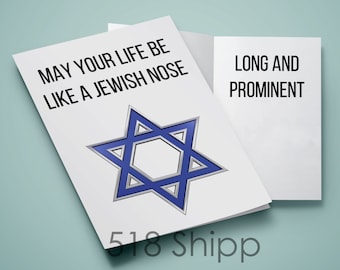 Jewish Nose Greeting Card - Long and Prominent