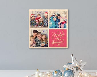 Print your Family Photo Collage on Wood - Perfect for Holiday Gift, Christmas Gift, Home Decor or Office Decor - Print Photo on Wood