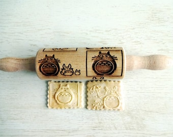 TOTORO kids Embossing Rolling Pin. Laser engraved rolling pin with TOTORO pattern