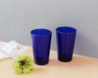 Vintage set of 2 Cobalt Blue Glasses, Home Decor