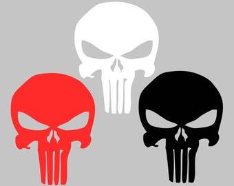 "5"" The Punisher Decal Skull Logo Sticker Vinyl for Jeep Car Truck Laptop Military Superhero"