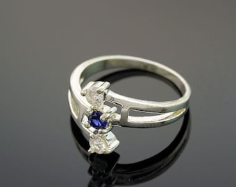 Sterling Silver 3-Stone Blue Sapphire Ring September Birthstone