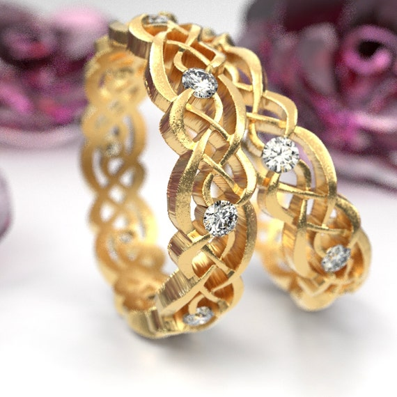 Gold Wedding Ring Set With Moissanites, Celtic Infinity Band, Eternity Diamond Ring in 10K 14K 18K Palladium or Platinum, Custom Size 1044