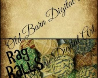 Primitive Bag Toppers -The Word Rag Balls - Rag Ball Image -Grungy Background - Instant Download - Digital Art - DIY Candles - Tarts - Soaps