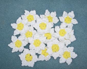12 handmade yellow and white crochet applique flowers  --  44