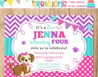 Pink and Purple PUPPY invitation - You Print