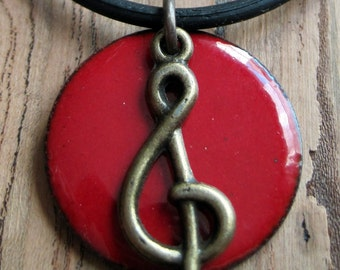 Clef note music necklace  Red Enamel on Copper Necklace Handmade Pendant