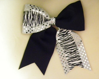 Black and Silver Hairbow with sequins and zebra print