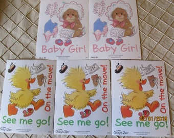 Vintage Suzy's Zoo Suzy Zoo Stickers Sheets-Assortment Lot Rare Hard to Find -Baby Witzy Baby Girl!  See me go! On the Move!