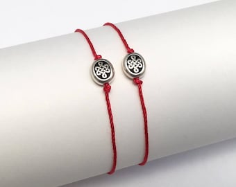 Gift Set of Celtic Knot Endless Love Symbol Lucky Natural Silk Red String Bracelets for Couples, Evil Eye Protection Bracelet, His and Hers